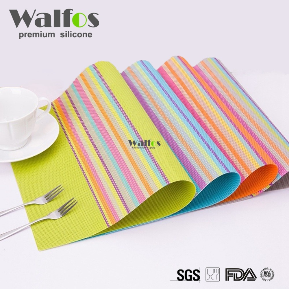 WALFOS 2 pieces pvc placemats dining table mats set table bowl pad napkin dining table tray mat coasters kids table set