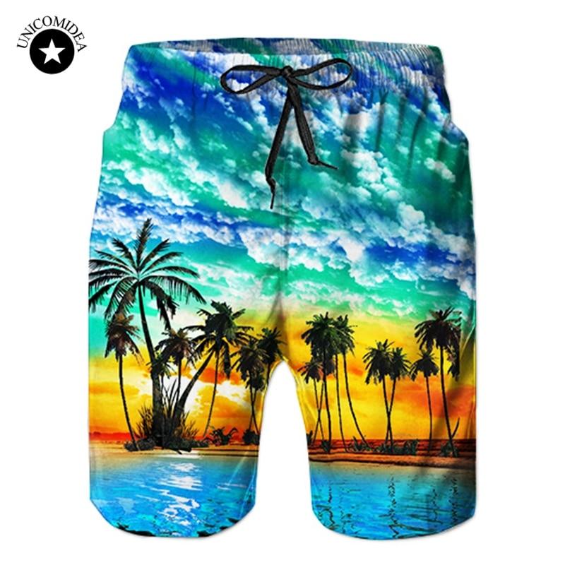2019 New Summer Hot Men Beach Shorts Quick Dry 3d Coconut Tree Printed Elastic Waist Mens Shorts Fashion Board Shorts Casual