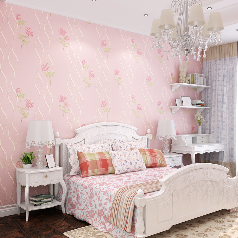 Korean style flower garden wall paper bedroom warm non woven kids baby wallpaper wedding room simple living room TV back wall 3D in Wallpapers from Home Improvement