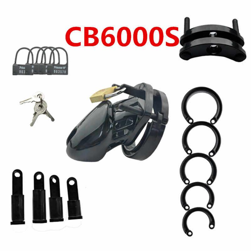 זכר צניעות מכשיר זין כלוב עם 5 גודל טבעות פליז מנעול נעילה מספר תגיות מין צעצועי CB6000