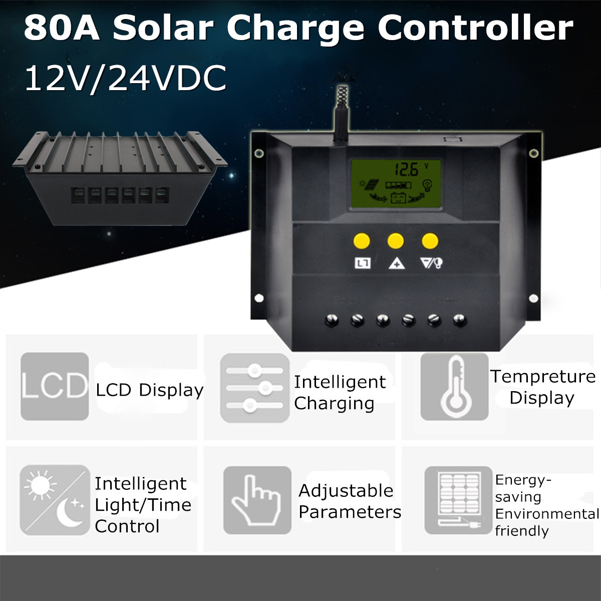 80A Solar Charge Controller Auto PWM Battery Charger Regulator ABS 12V 24V 1920W MAX PWM Charging Mode Short-circuit Protection max short