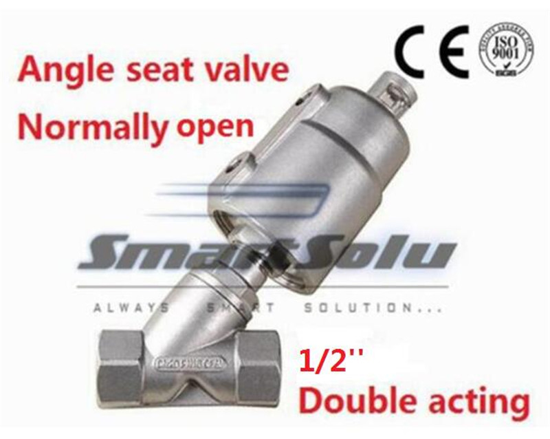 Free shipping angle seat valve double acting stainless steel actuator DN65 2 1/2 inch normally close for air steam free shipping seat actuator double cheap steam water stainless steel valve angle dn25 1 inch normally open for air