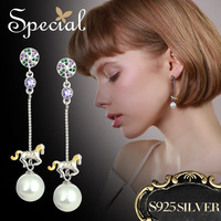 Special Brand Fashion Natural Pearls Drop Earrings 925 Sterling Silver Jewelry Long Shell Beads Earrings Gifts for Women S1702E