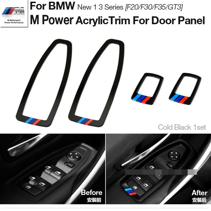 Motorsport M Performance Acrylic Window Switch Frame Cover Car Door Panel Trims For BMWW 1 3 Series F20 F30 F35 3 GT 3GT Styling free shipping for kia sportage door window switch with side mirror switch window lifter switch