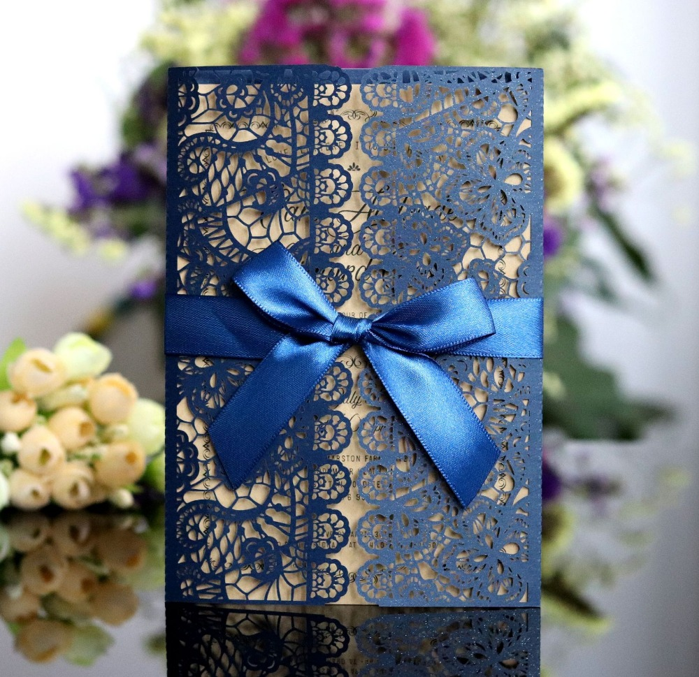 100pc navy blue laser cut wedding invitations lace dinner