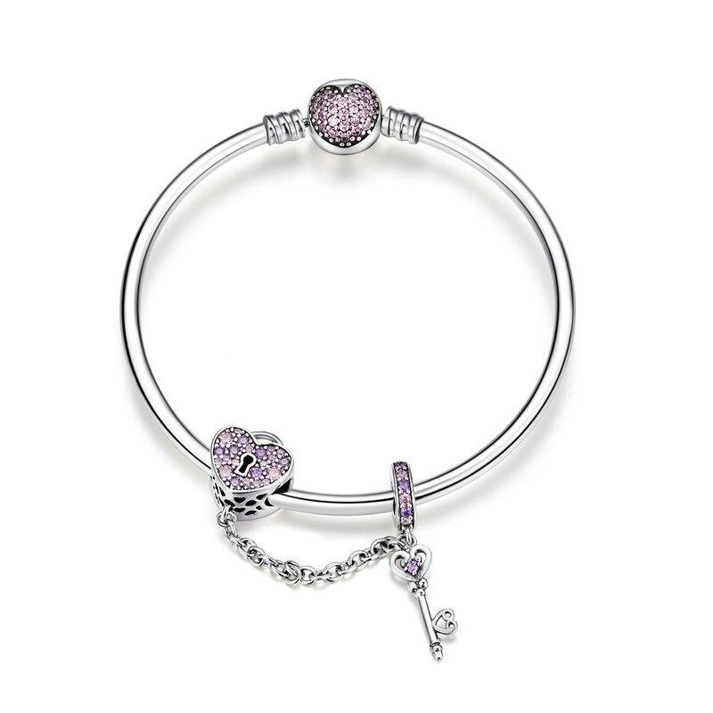 ABAY 2019 authentique 925 argent Sterling amour clé coeur forme Bracelets Bracelets pour femmes violet Zircon Valentine cadeau bijoux