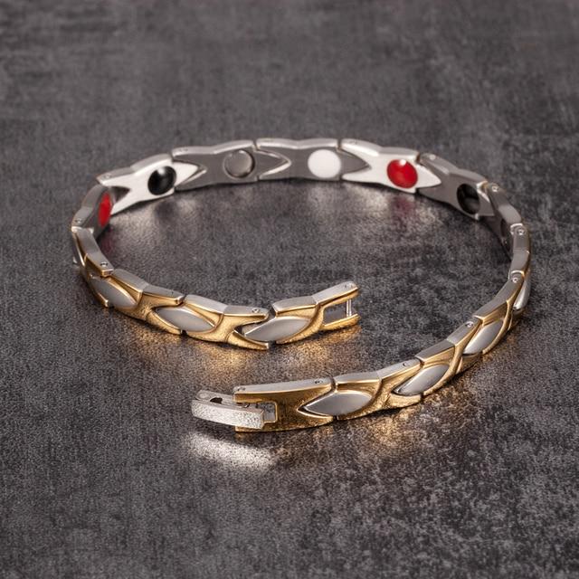 aa23341a8a96 Pulsera magnética Vinterly beneficios oro-color acero inoxidable pulsera  mujer cadena energía germanio encanto pulsera