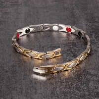Vinterly Magnetic Bracelet Benefits Gold-color Stainless Steel Bracelet Women Chain Energy Germanium Charm Bracelet Jewellery