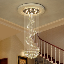 DHL Customize Dia800*H2500mm duplex stairs spiral crystal chandeliers villa hall led light hotel crystal chandeliers JF1779 duplex building stair crystal chandelier spiral villa foyer led chandeliers light lighting free shipping
