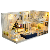 Birthday Gift Wooden DIY LED Light Children Furniture Kit Miniature 3D Doll House Assembling Toys Handmade