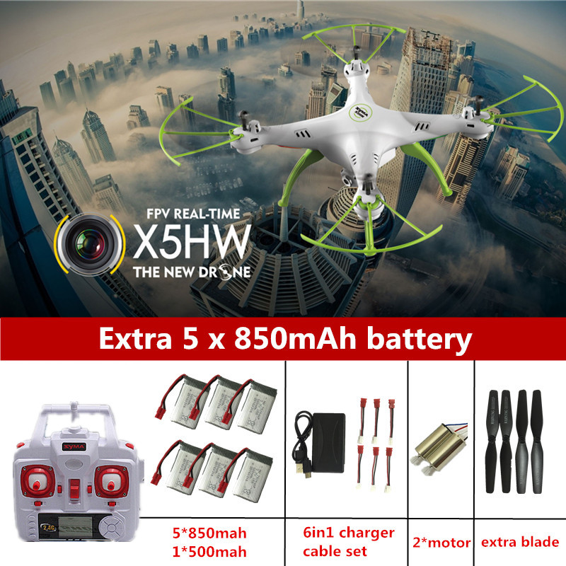 Syma X5HW FPV RC Quadcopter Drone with Camera hd WIFI FPV dron Syma X5SW Upgrade RC Helicopter with 6 battery + 6 in 1 Cable