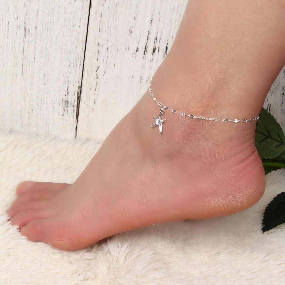 1 шт. НОВАЯ шикарная подвеска Морская звезда ножной браслет золотой цвет тонкая цепочка ножной браслет для женщин девушек украшение ножной браслет