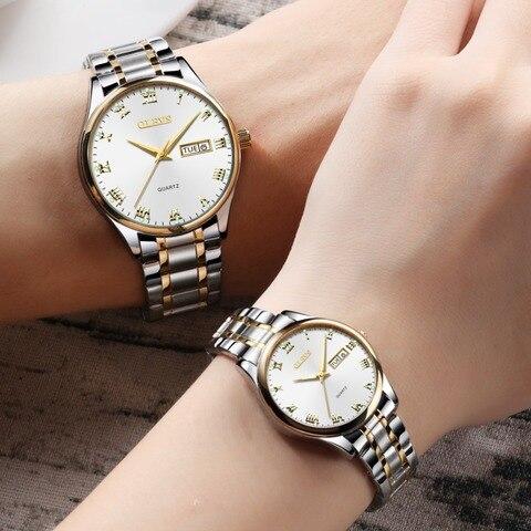 Relógios para Amantes para Mulheres dos Homens de Aço Marca de Luxo Relógio à Prova Olevs Casal Inoxidável Relógios Relógio Masculino d' Água Top