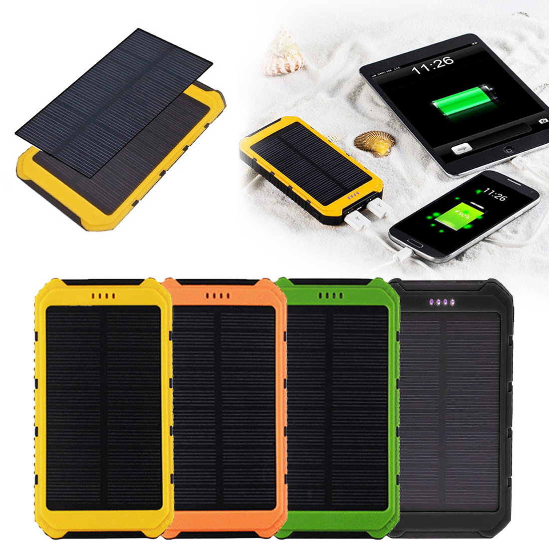 New large Capacity 20000mAh Solar Panel Sun power Battery Power Bank Charger Universal Portable Solar Mobile Phone Power Charger