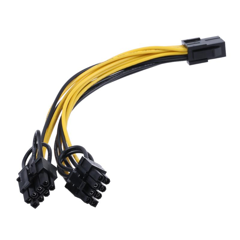 Graphic Card Power Supply Cable 6Pin Port to Dual 8(6+2)Pin Port Splitter Power Cable Connector Extender Cable for Computer Case