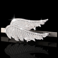 Front Grille Grill Badge Rhinestone White Angel Wing Emblem &Sticker for All MINI Cooper Clubman Countyman