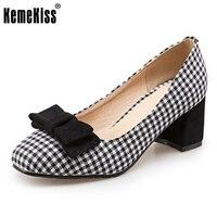 KemeKiss Tamaño 32-43 Señoras Zapatos De Tacón Alto de Las Mujeres Plaid Bowtie Tacones Gruesos Bombas Oficina Fiesta de Boda de La Vendimia Femenina calzados