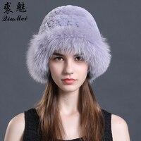 Women Winter Hat Genuine Rex Rabbit Fur Beanies Hat Casual Caps 2018 New Russia Fashion Bucket Hat Female Natural Fur Caps