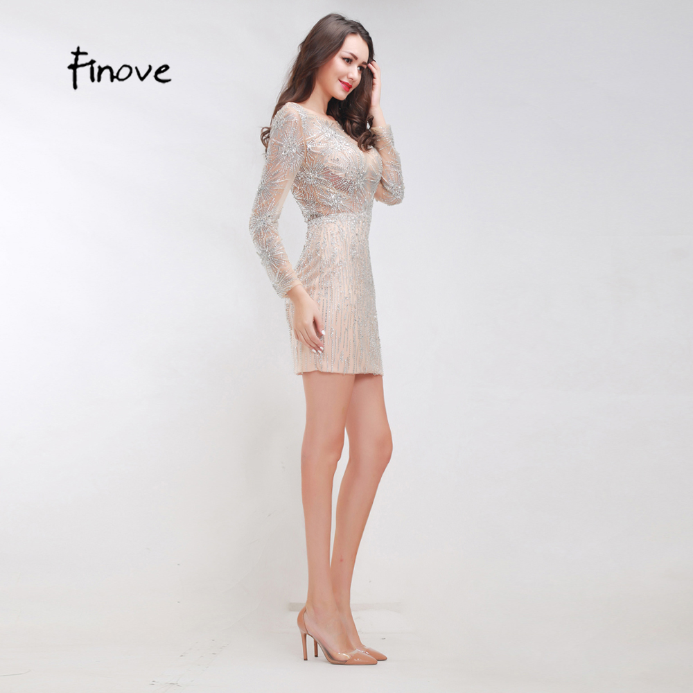 Finove Stunning Beading Cocktail Dresses 2018 New Styles Sexy See ...