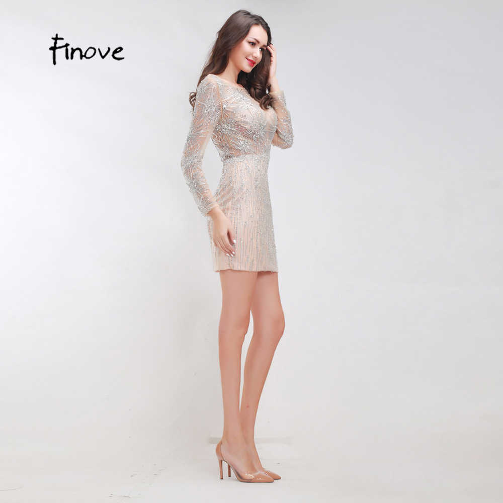 226b525054 Finove Stunning Beading Cocktail Dresses 2019 New Styles Sexy See-Through  Tulle Mini Dresses Long Sleeves Short Women's Dresses