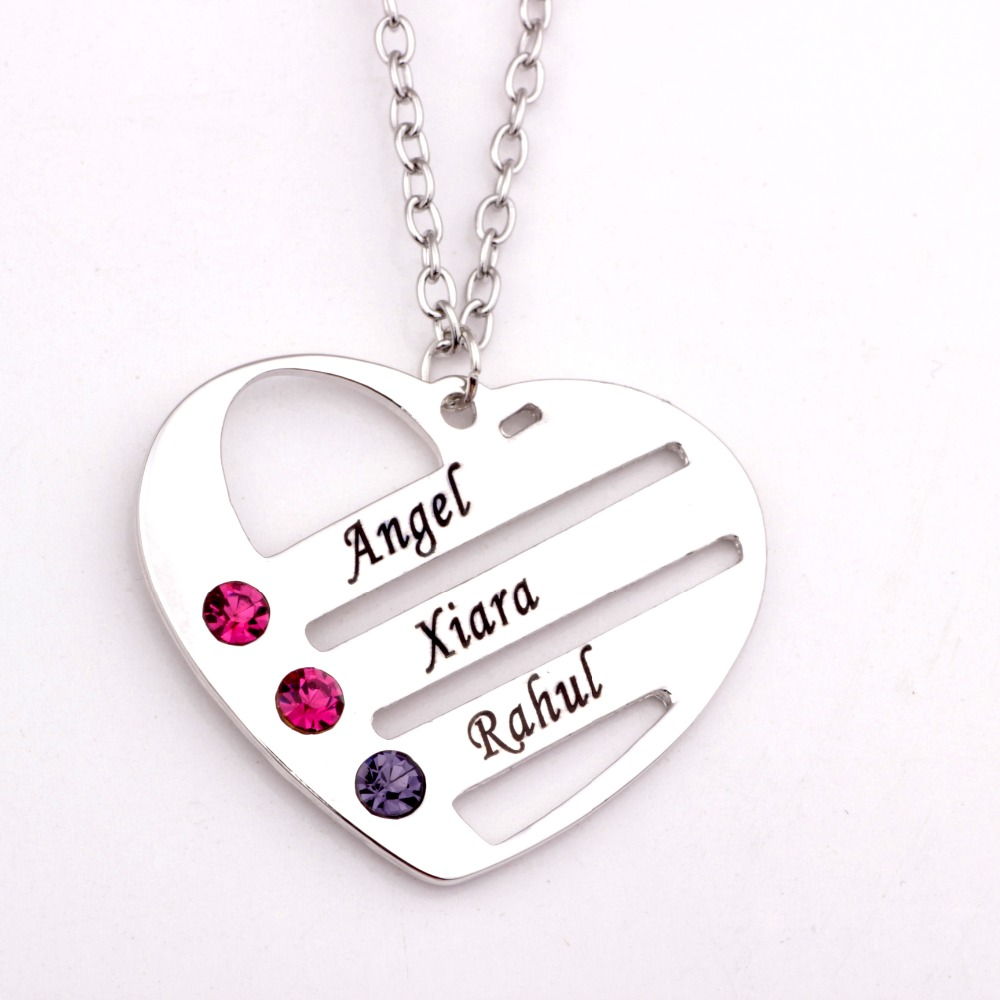 Love Pendant Heart Necklace with Birthstones New Arrival Birthstones Long Necklaces Custom Made Any Name YP2487