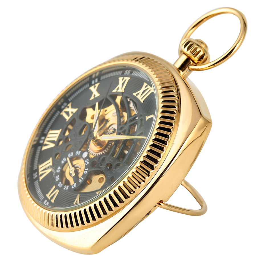 Antique Mechanical Hand-Winding Pocket Watch Luxury Roman Numerals Display Pocket Pendant Clock With Fob Chain New Arrival 2019