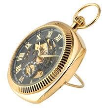 עתיק מכאני יד Winding שעון כיס יוקרה רומי ספרות תצוגת כיס תליון שעון עם Fob שרשרת חדשה הגעה 2019