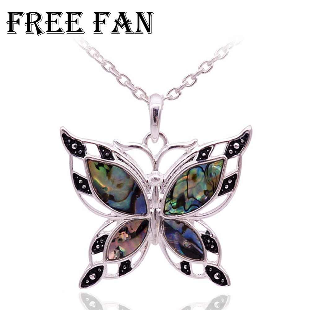 Free Fan Green Butterfly Boho Shell Necklace Pendants Elegant Women Animal Statement Custom Necklace Jewelry Colar Feminino