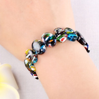 NPASON 2018 Hot Sale New Trendy explosion of fashion color glazed camouflage manual sweet lady stretch wide Bracelet