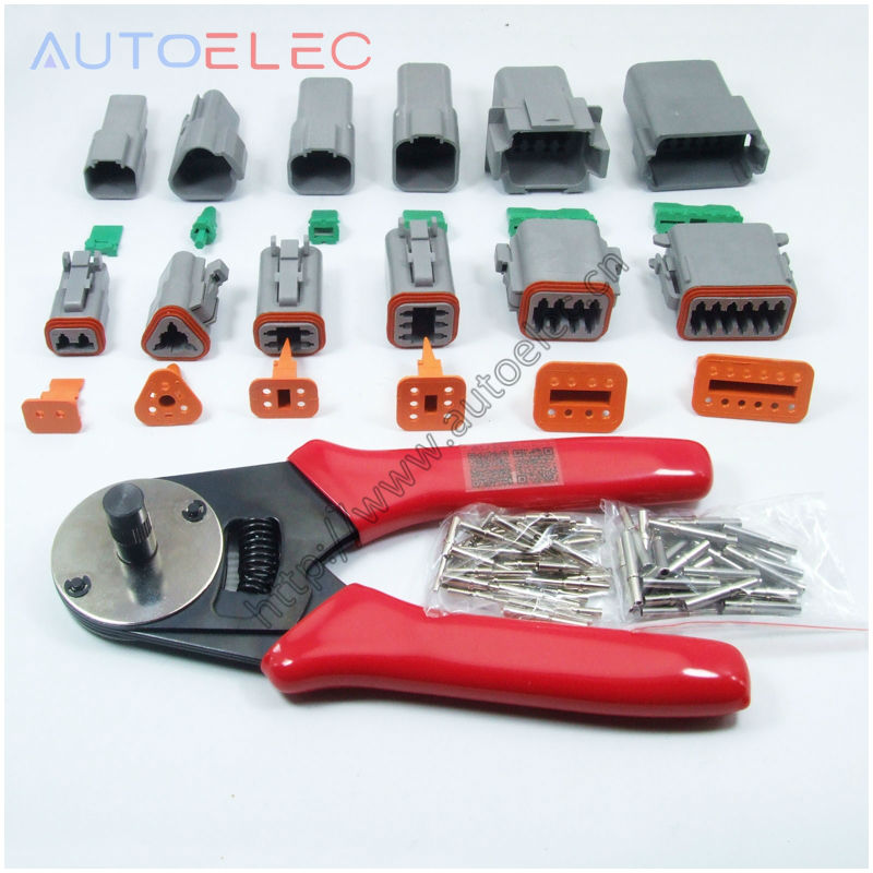 1 sets 6 models Deutsch DT06/DT04 2/3/4/6/8/12Pin waterproof electrical solid Crimper terminals & solid Crimper Tool black 50 sets 4 pin dj3041y 1 6 11 21 deutsch connectors dt04 4p dt06 4s automobile waterproof wire electrical connector plug