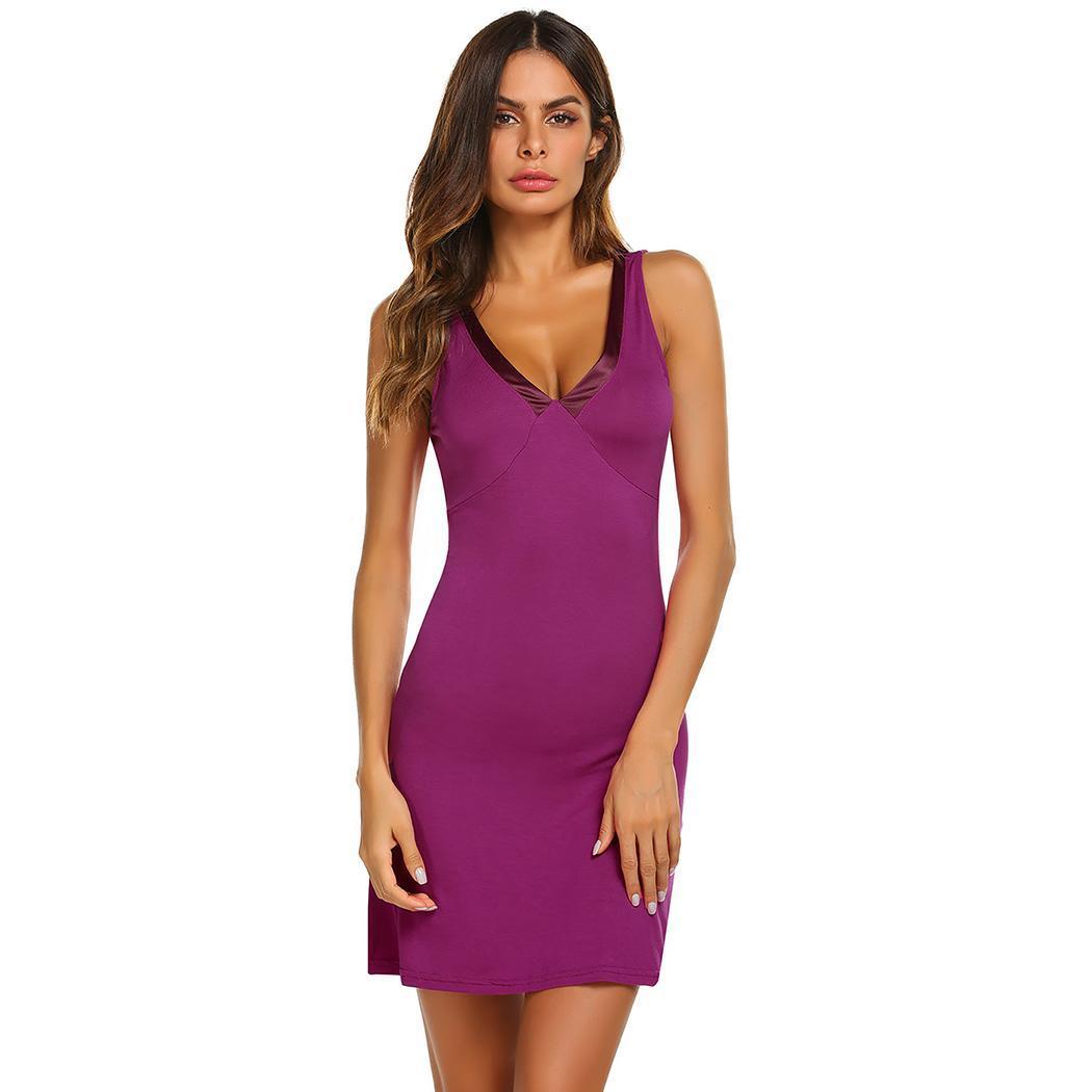 Ekouaer Nightgown Sleepshirts Sleep Dress V-Neck Sleeveless Slim Patchwork NightwearSexy Nightdress  Female Home Clothes