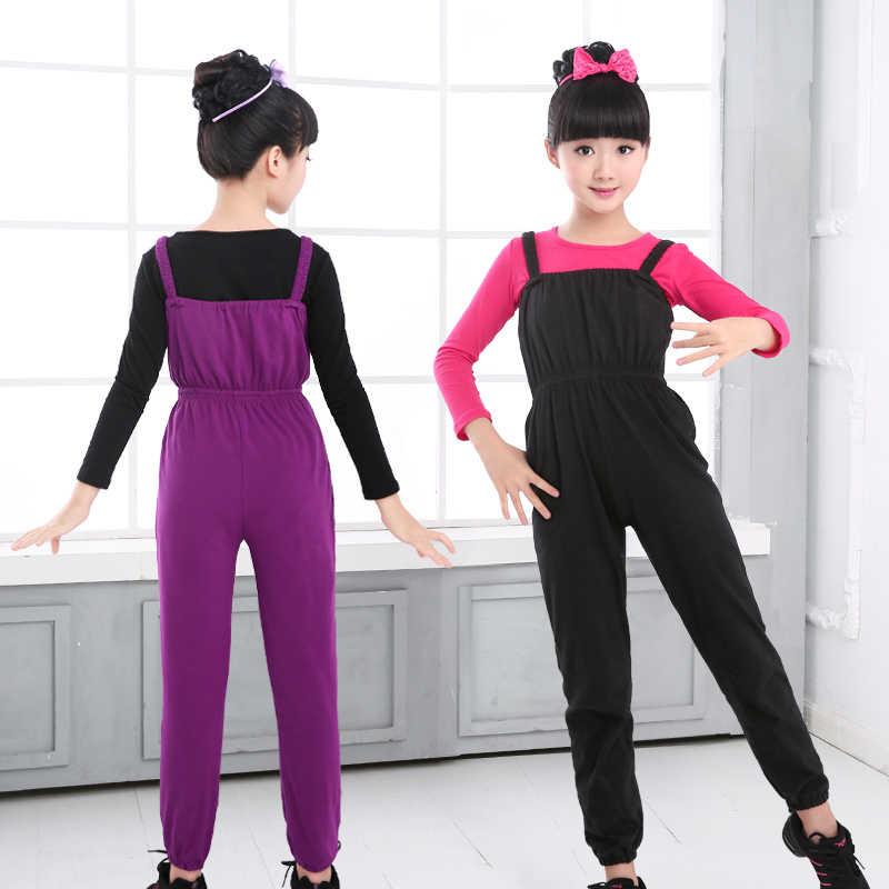 Детский балетный комбинезон-трико для девочек; Детские хлопковые гимнастические штаны на подтяжках; цвет черный, фиолетовый; балетная одежда; Одежда для танцев