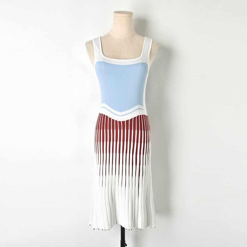905ae79b5 Nueva moda 2019 nuevo primavera tejido trompeta Spaghetti Strap mujer  blanco vestido sin mangas diseño Patchwork pasarela Vestidos Verano