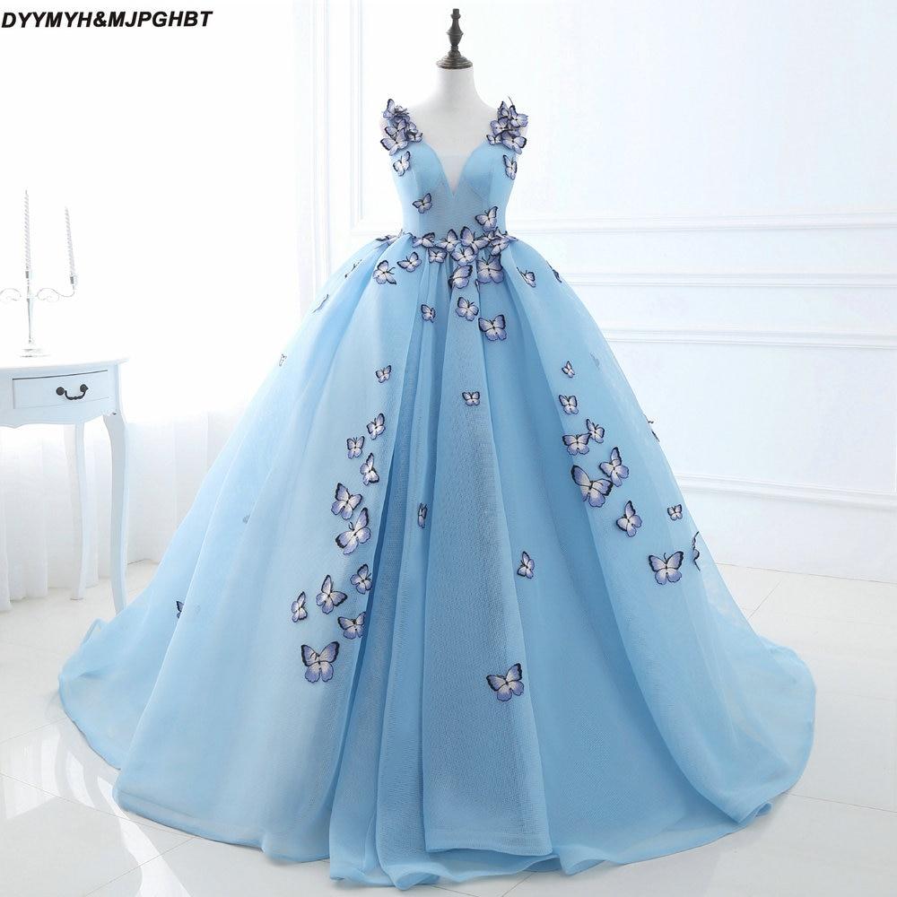 Fairy Tale Princess Prom Dresses V Neck Tiered Skirt Sky Blue Ball ...