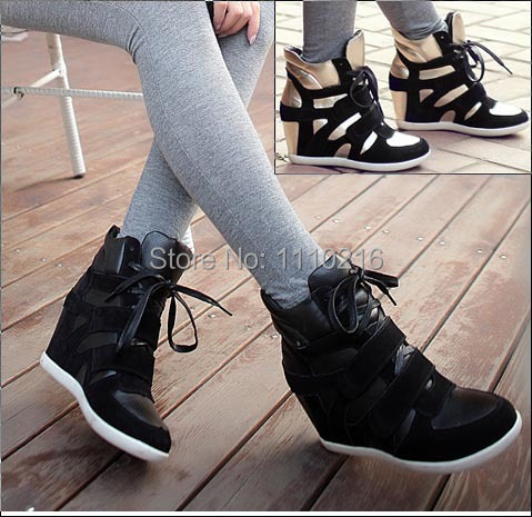 ФОТО 2017 Women lace up hidden wedges Heels patchwork Ladies Elevator Casual Invisible height Increasing Shoes high top boots