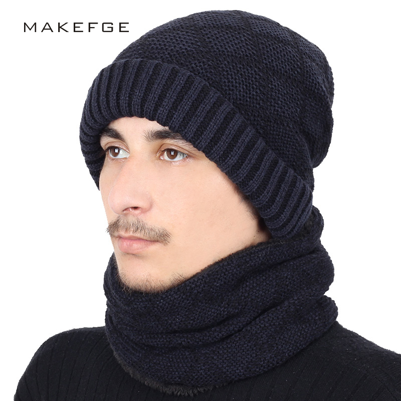 2fb19445 Detail Feedback Questions about New Fashion Plaid Striped Knit Beanie Hat  Scarf 2 Pieces Set Winter Plus Velvet Thickening Men's Ski Scarves Soft Cap  Male ...