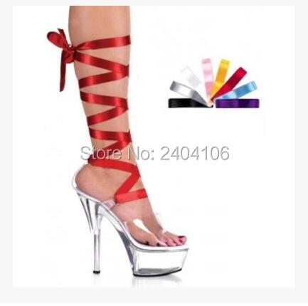 ФОТО Nightclub Women Transparent Clear Boots Multi-color Ribbons Peep Toe 15CM Perspex High Heel 5CM Platform Drop Shipping