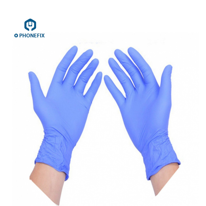 PHONEFIX 10pcs Blue ESD Safe Gloves Non-toxic Disposable Anti Static Gloves for Mobile Phone Repair Tool Finger Protection