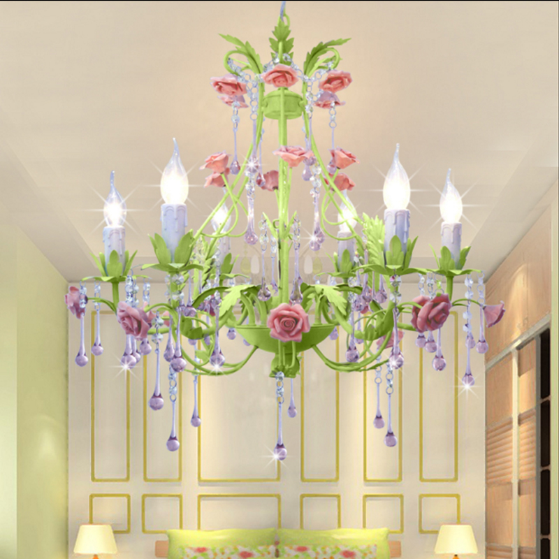 Pastoral living room dining room crystal lamp Iron Pendant Lights warm romantic flower bedroom lamp LED art lamps Pendant lights стоимость