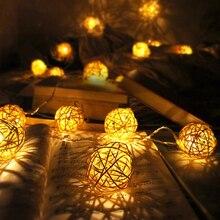 6 см ротанговый шар 5 м 20 светодиодная гирлянда Сказочный свет Праздничная светодиодная Рождественская гирлянда светильники для помещения и улицы свадебный Декор лампа EU/US/AU