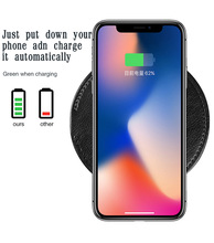 EGEEDIGI Leather Wireless Charger For iPhone Xs Max XR X 10W Fast Wirless Charging Pad Samsung Xiaomi MIX 3