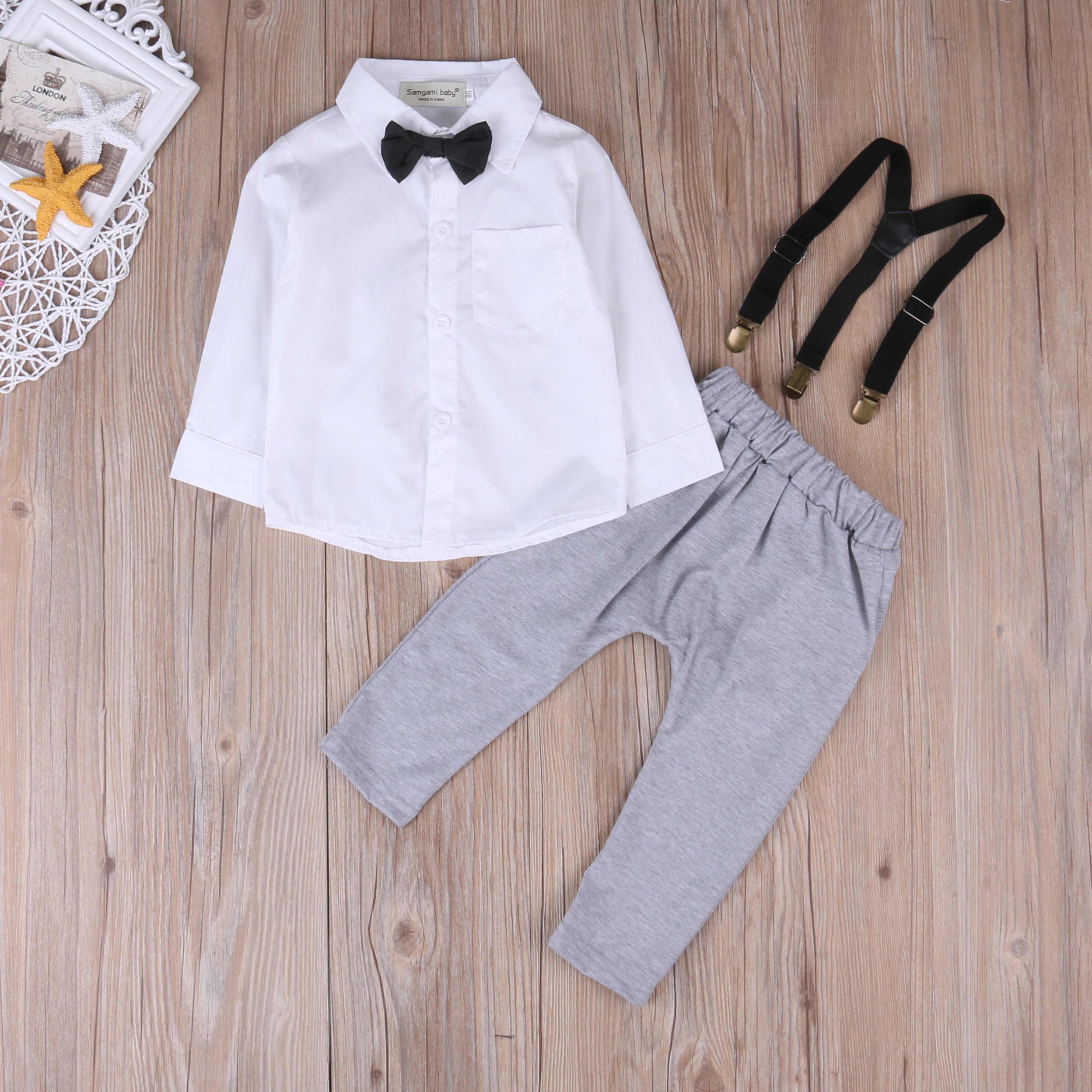 73bdb0c3e ... 2Pcs Infant Baby Boys Little Gentleman Costume Clothes White Shirt  Tops+Overalls Suspender Trouser Outfit ...