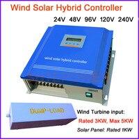 3kw charge controller wind/solar hybrid 3000w windmill and 100W solar panel, 24v/48v/96v/120v/240v battery charge controller