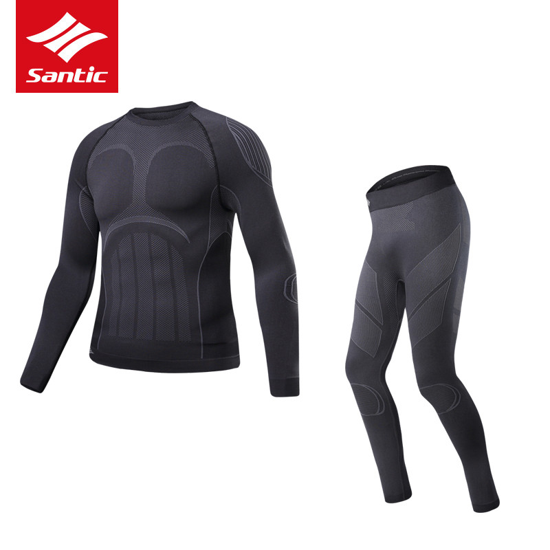 SANTIC Thermal Cycling Winter Sets For Men Mtb Bicycle Compression Cycling Base Layer Sets Running Breathable Jersey Tight Pants wosawe 2017 winter men women thermal cycling base layer compression mountain bike warmer underwear long sleeve cycling jersey page 1