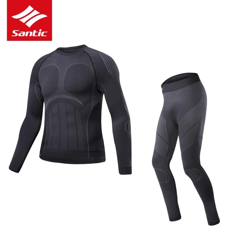 SANTIC thermique cyclisme hiver ensembles pour hommes vtt vélo Compression cyclisme couche de Base ensembles course respirant Jersey pantalon serré