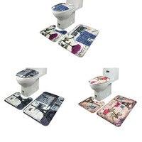 Bathroom Accessories Set Non Slip Blue Ocean Style Pedestal Rug Lid Toilet Cover Bath Mat Houehold