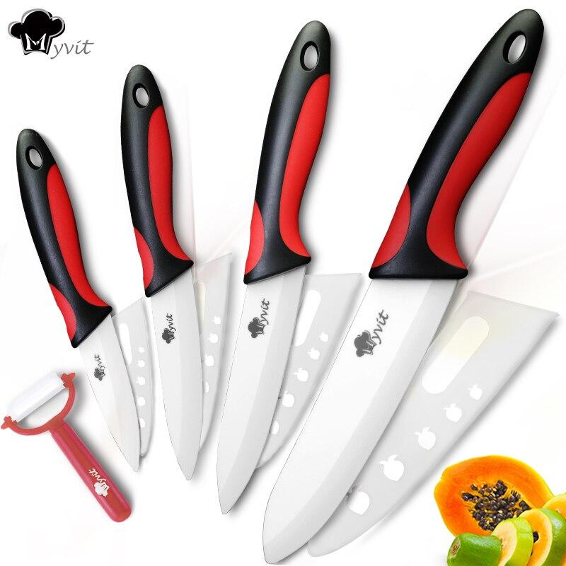 Facas de Cozinha Faca de cerâmica 3 4 5 6 polegada + Descascador Chef Utilitário Apara Fruta Vegetal Slicer Faca Santoku Cozinheiro Conjunto Branco lâmina