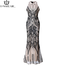 Summer Vintage Backless Sequined Party Dresses Women Sexy Retro Bodycon Mermaid Dress High-end Cocktail Vestidos