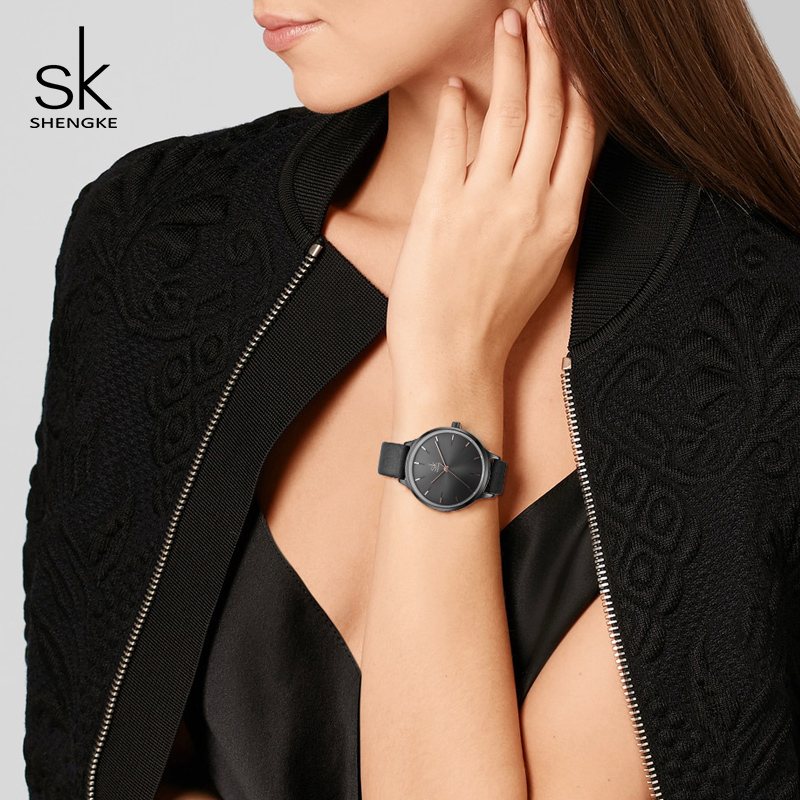 Shengke Fashion Watches Women Leather Wrist Watch Reloj Mujer 2019 SK Luxury Ladies Quartz Watch Women 39 s Clock Montre Femme in Women 39 s Watches from Watches