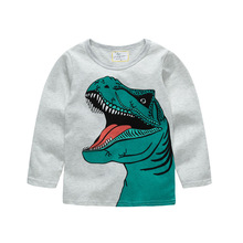 Children top clothes 2019 spring and autumn new boys and girls long-sleeved T-shirt cotton gray dinosaur pattern Kids clothing hot sale kids cartoon boys and girls long sleeved t shirt casual clothing gray kitty pink black free shipping available